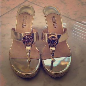 MICHAEL Michael Kors Gold Wedge Sandals